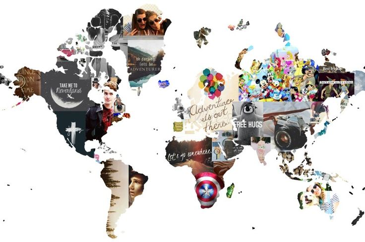 World map silhouette collage