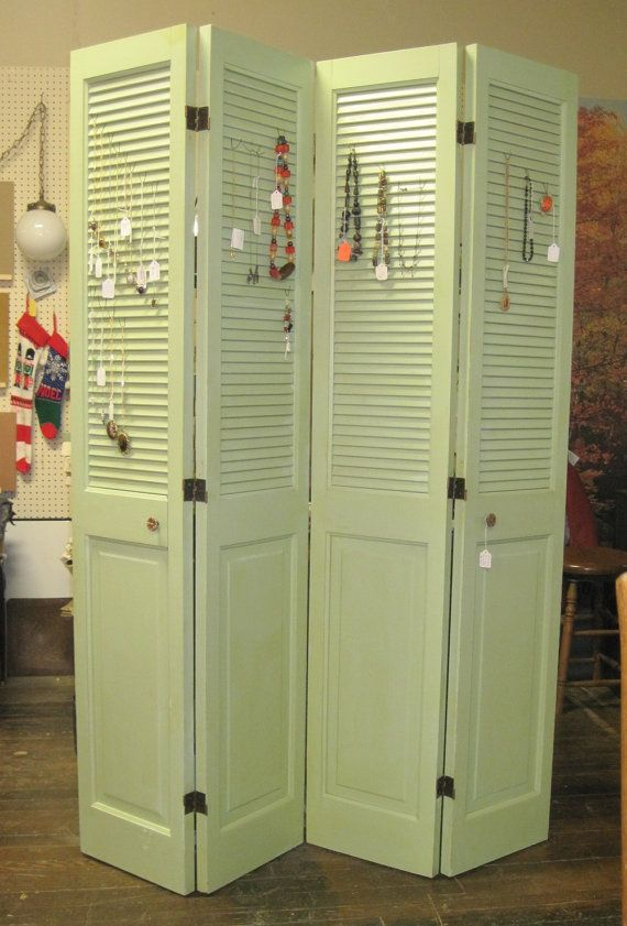 dressing screen, jewelry/necklace holder, recycled out of 2 pair of bifold doors $115.
