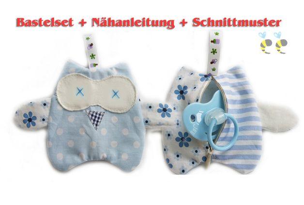 Nähanleitung + Schnittmuster Schnullertasche EULE -(Kaufanleitung)