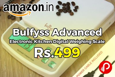 Amazon #LightningDeal is offering 17% off on Bulfyss Advanced Electronic Kitchen Digital Weighing Scale at Rs.499 Only. advanced version of Bulfyss Kitchen Scale, Upto 10Kg With Support for AC Adaptor and Counting Feature, USB Power Cable Included, splash-proof design.  http://www.paisebachaoindia.com/bulfyss-advanced-electronic-kitchen-digital-weighing-scale-at-rs-499-only-amazon/