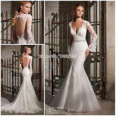 Sexy v- hals lange mouwen open rug zeemeermin trouwjurk bruiden vestidos boda 2015 vintage jurk