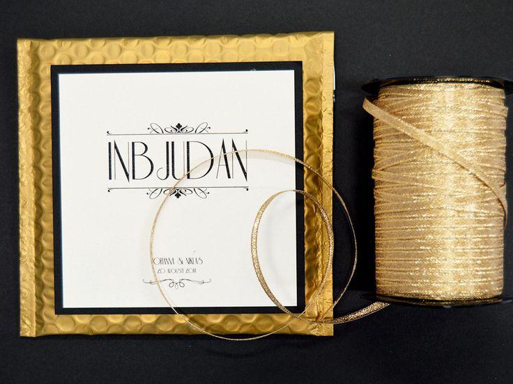 Bröllopskort guld artdeco art Deco