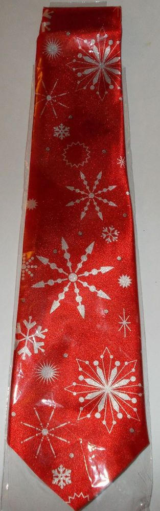 Red Snowflake Holiday Novelty Tie  #Unbranded #Winter