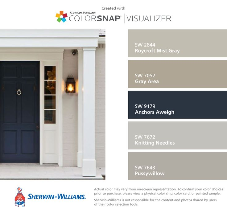 I found these colors with ColorSnap® Visualizer for iPhone by Sherwin-Williams: Roycroft Mist Gray (SW 2844), Gray Area (SW 7052), Anchors Aweigh (SW 9179), Knitting Needles (SW 7672), Pussywillow (SW 7643).