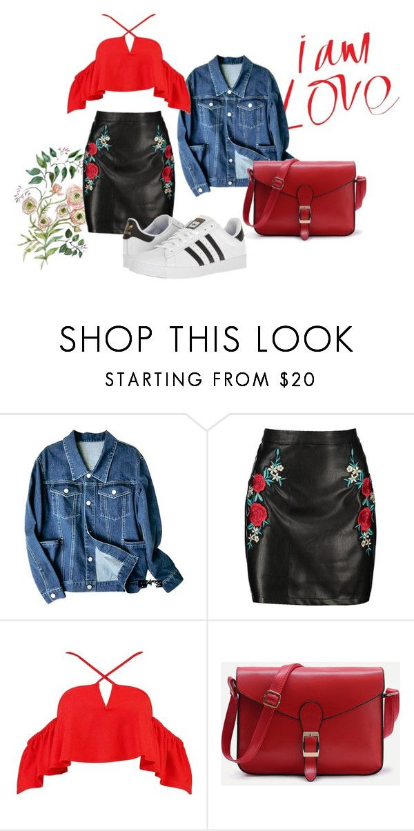 I'm Love by patsilvarte-blog on Polyvore featuring Boohoo, adidas and WithChic  #boohoo #fancy #casual #ootd #look #blog #embroided #patches #flowers #denim #adidas