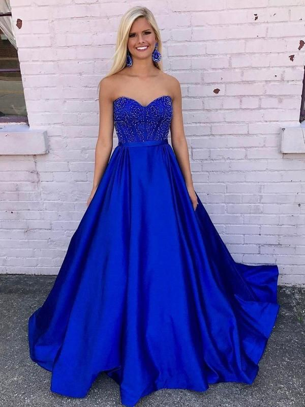 eae2bb561daf A-line Sweetheart Neck Royal Blue Satin Long Prom Dresses APD2750-SheerGirl