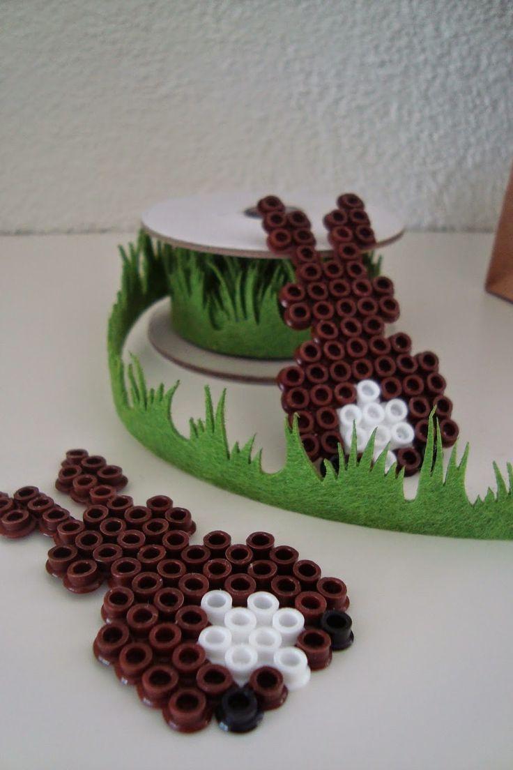 Kleefalter: Bügelperlen-Hasen