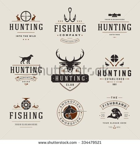 Set of Hunting and Fishing Labels, Badges, Logos Vector Design Elements Vintage Style. Deer head, hunter weapons, forest wild animals and other objects. Advertising Hunter Equipment. - stock vector