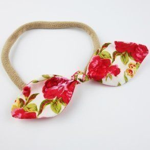Red Rose Baby Bow Top Knot Headband
