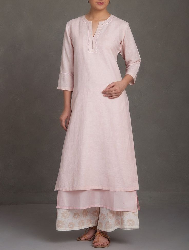 Buy Pink Embroidered V Neck Cotton Linen Kurta Women Kurtas Saumya & Printed Apparel in Chanderi More Online at Jaypore.com