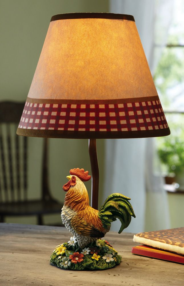Primitive Country Style Table Lamp With Rooster Sculpture Accent Base