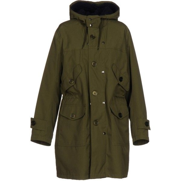 Equipe' 70 Jacket (£199) ❤ liked on Polyvore featuring outerwear, jackets, military green, olive green jacket, padded jacket, army green parka jacket, long sleeve jacket and green military jacket