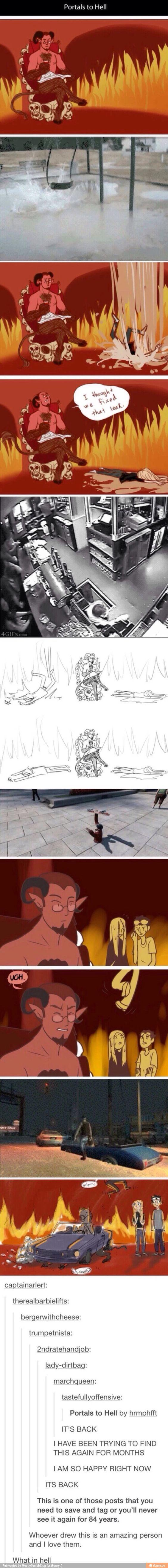 Tumblr hell portal drawings:
