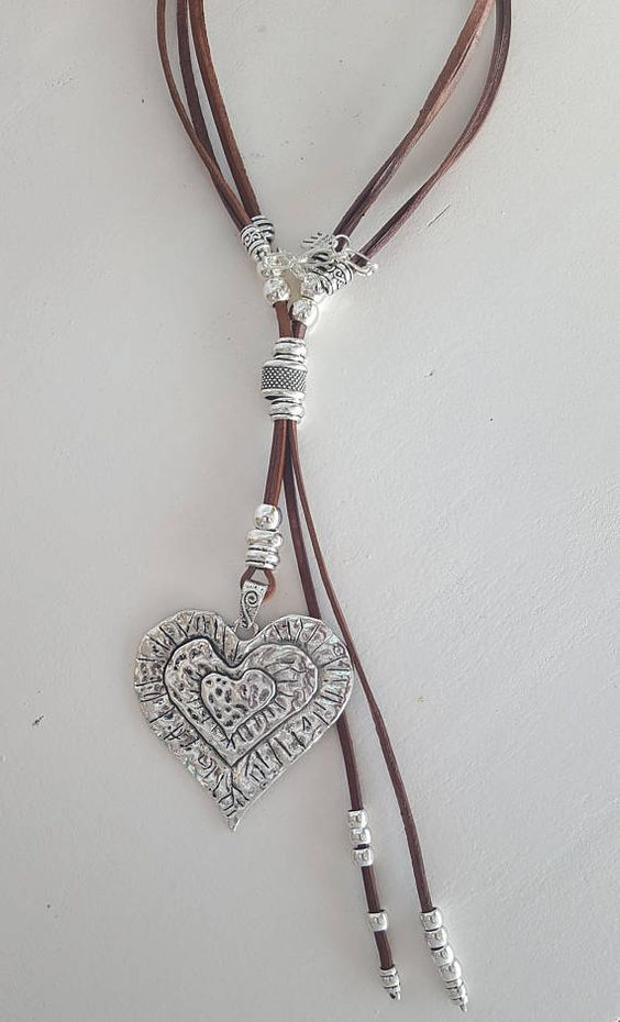 Boho necklace lariat with silk cord