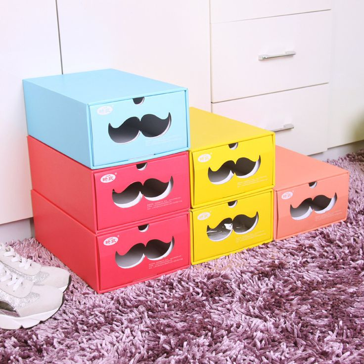Foldable Candy-colored Shoe Storage Box  Storage Bin Multi-function Collecting Box Thicken Cardboard Home Sorage Tool