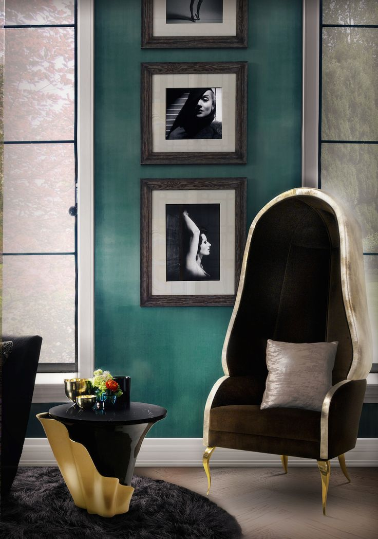 Living Room - Emerald Wall - KOKET - Furniture Design - Glam Style - Home Decor