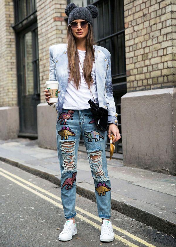 calça jeans embroidery denim