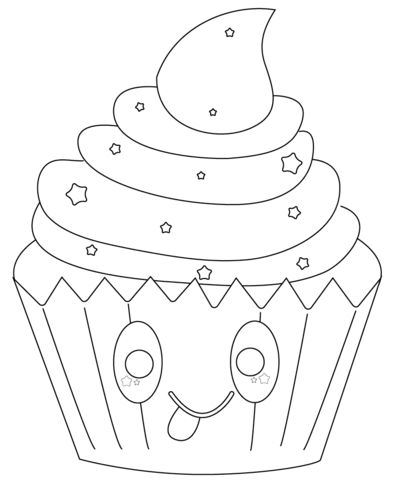 kawaii cupcake with stars coloring page  star coloring pages coloring pages free printable