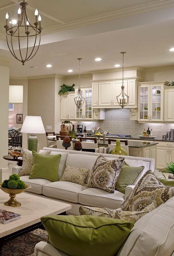 Sanibel Model   Living Room Kitchen Living Room Layout Love The Pops Of  Green With Neutral Background