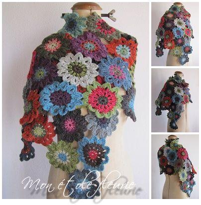 Crochet Japanese Flower scarf