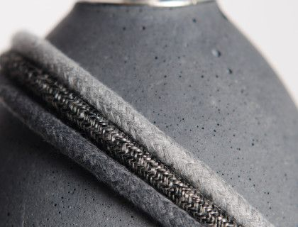 New braided cables recommended for our anthracite concrete lamps  1. cotton braided cable – light grey 2. linen braided cable – athracite 3. cotton braided cable – dark grey