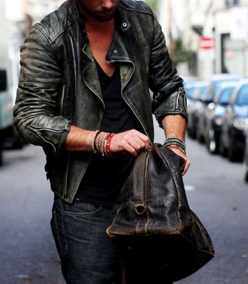 jacket, bag, bracelets: Distressed Leather, Men Clothing, Fashion Men, Menfashion, Men Style, Men Fashion, Leather Jackets, Leather Men, Leather Bags