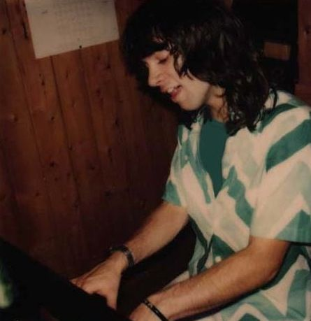 Arrows singer Alan Merrill recording a piano part at Ron Wood's home studio The Wick, London England, summer 1976.