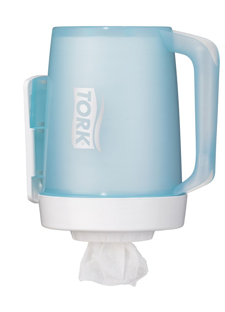 Tork Portable Mini Centrefeed Dispenser: Compact centrefeed dispenser, for areas that need limited paper usage. Portable dispenser allows you to have multiple docking stations for easy access to paper as you move about your daily work. (System: M1 - Centrefeed system small; Material: Plastic; Height: 263 mm, Width: 185 mm, Depth: 239 mm; Color: White/Turqoise)