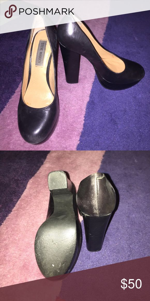 Steve Madden black chunky heels Soft black leather heels. 4 and a half inch heel. Some wear and tear but that just means they are broken in! Steve Madden Shoes Heels