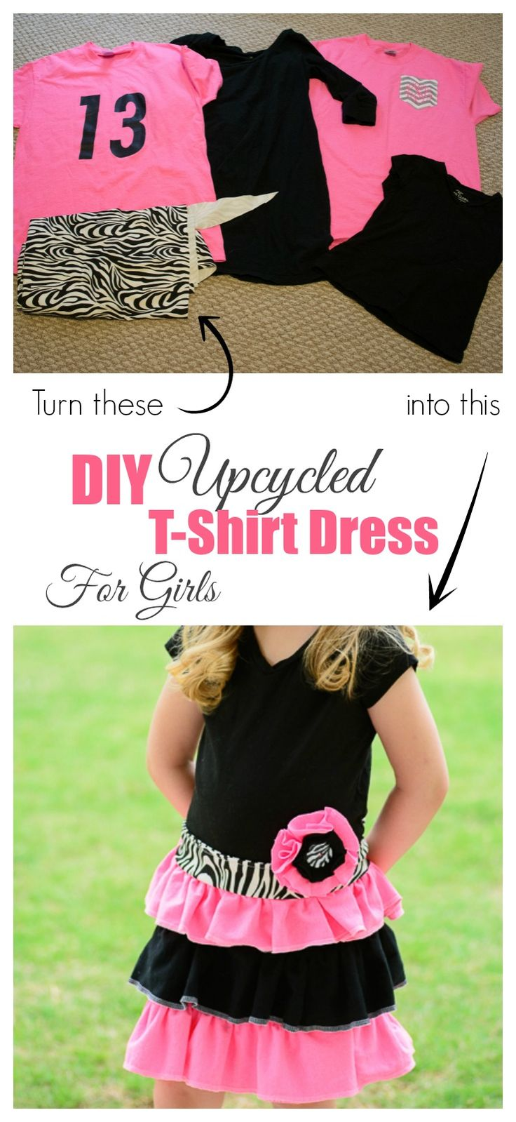 DIY Upcycled T-shirt Dress for Girls. Take old t-shirts and give them new life with this super easy tutorial. #stylebymethod #CleverGirls