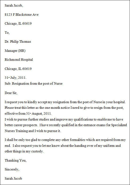 Resignation Letter For Nursing Awesome 9 Nursing Resignation