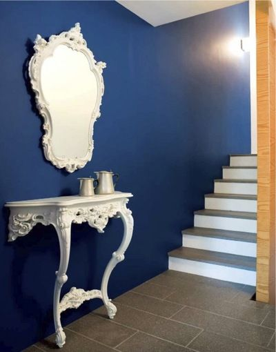 Blue hallway with white accents, Stocktons. http://www.kenisahome.com
