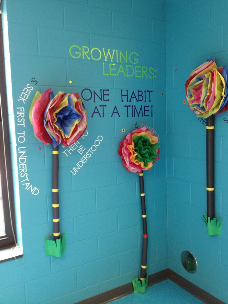 Leader in Me 7 Habits hallway display--each flower has a habit around it cut from adhesive vinyl on a Cricut