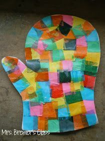 Winter art activities for Kindergarten based on the books The Hat and The Mitten by Jan Brett