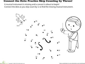 Worksheets, Connect the dots and Skip counting on Pinterest