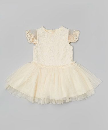 Ivory Crochet Flower Angel-Sleeve Dress - Girls #zulily #zulilyfinds
