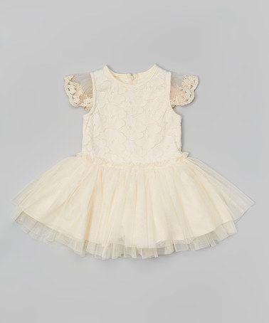 Ivory Crochet Flower Angel-Sleeve Dress - Girls #zulily #zulilyfinds