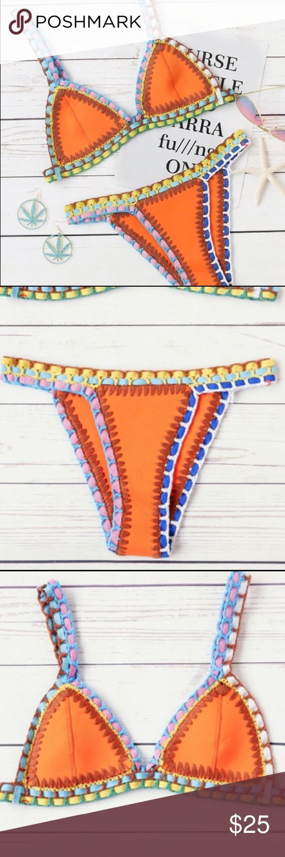 Orange Crochet Trim Triangle Bikini Set Summer Collection 🌴 Coming Soon ☀️ Limited Supply. Brand new. Multicolor.     ✨ NO TRADE ✨ MAKE AN OFFER ✨ BUNDLE & SAVE   Please do not hesitate to ask questions✨ Swim