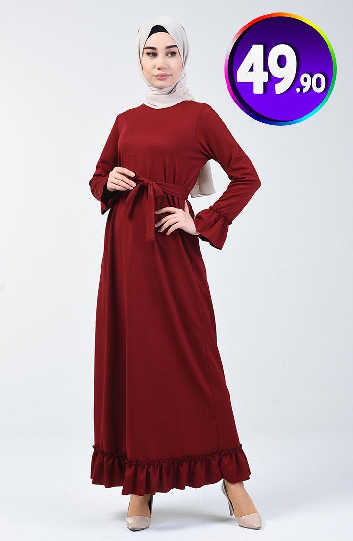 Buzgulu Kusakli Elbise 0031 04 Bordo Sefamerve 49 90 Tl Indirimli Tesettur Elbise Modelleri 2020 Kusakli Elbise Elbise Elbise Modelleri