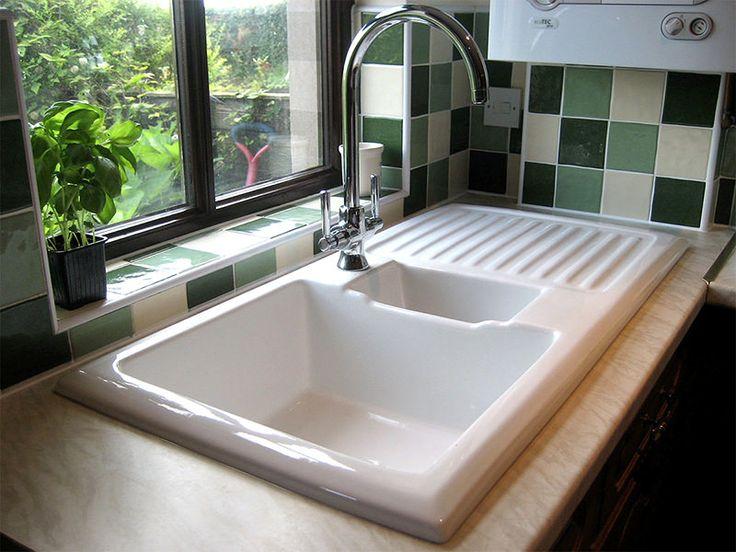 Rangemaster Ceramic Kitchen Sink White LH Drainer