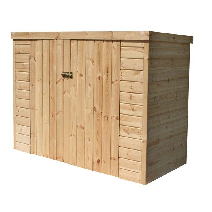 Coffre de jardin bois Kikka naturel, l.192.4 x H.149.7 x P.100.3 cm | Leroy Merlin | Coffre de ...
