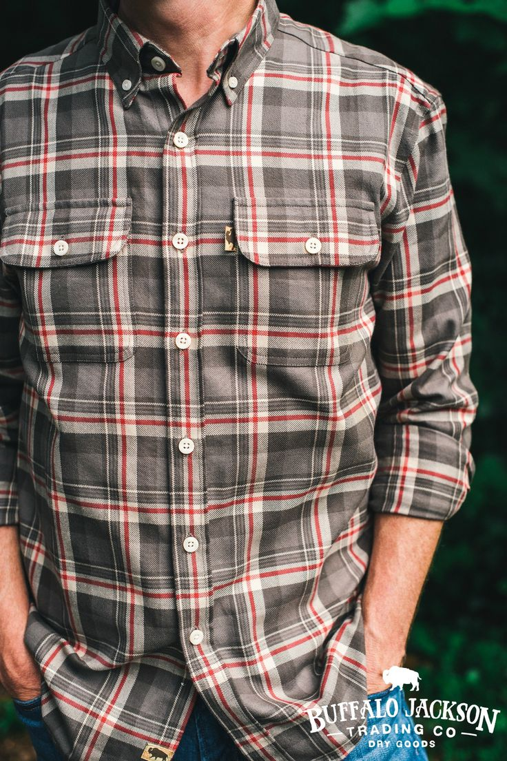This mens flannel shirt is made of soft, sturdy, midweight flannel. Two front pockets with button flaps. This is not your pajama party flannel. (Or 90's grunge.) This is the flannel shirt he wants to wear (and you want to see him in). Shown here in Barnwood Plaid.