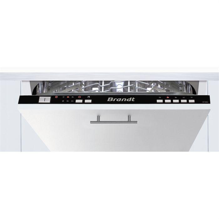 BRANDT VS1009J  Lave-vaisselle encastrable - 9 couverts - 5 programmes - 4 températures de lavage - Classes énergétiques : AAA - Séchage par condensation active - Départ différé - Adoucisseur d'eau - Indicateur de fin de cycle - Livré sans porte d'habillage - Coloris : noir