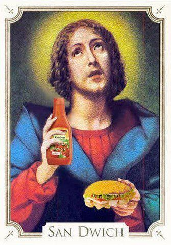 Postcard designed by the advertising agency Armando Testa, located in Turin, (apparently) to promote good behavior in church.San Dwich, garnish your sandwich with ketchup and warned the faithful that the chewing gum and eating are not acceptable in the church.
