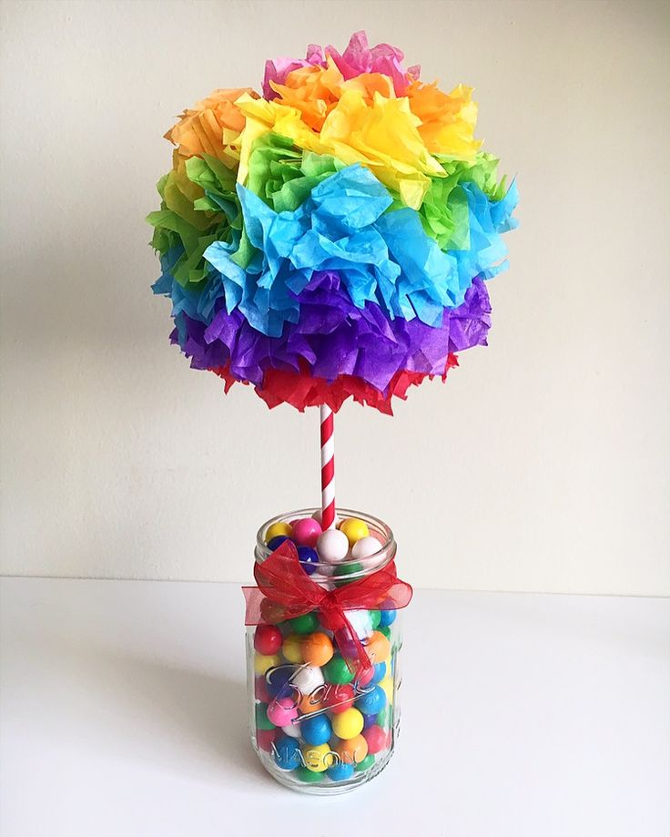 Rainbow Gum Ball centerpiece! This was hand made for a Candy Land themed birthday party.