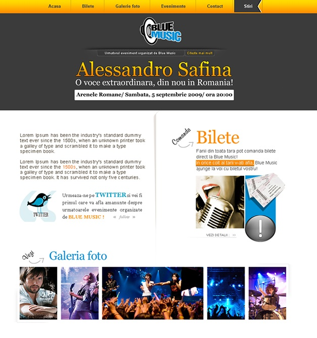 Website selling tickets online to concerts organised by Blue Music.The website was designed with CMS system using Wordpress.The Wordpress theme was made from scratch specially for Blue Music. The site contains: articles on the artists that performed in concerts in Bucharest,photo gallery,event page with artists that are to hold concerts,online store selling tickets and the news section(blog).