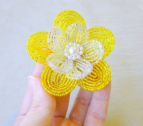 French Beaded Flower  Sunny yellow Hair Clip by LaurenHCreations, $22.00