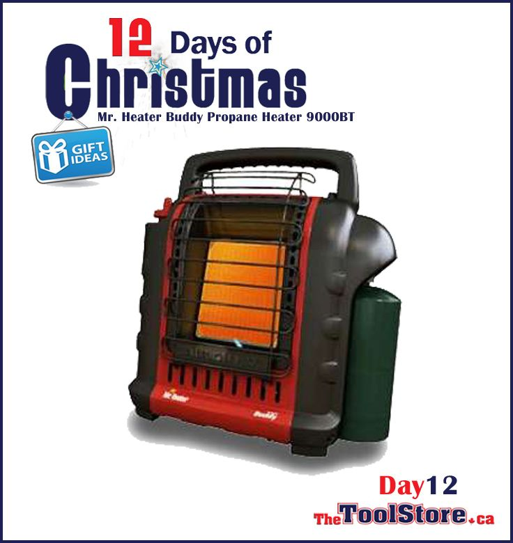 #12DaysofChristmas from @onlinetoolstore - DAY12 - Mr. Heater, Propane Buddy Heater, Heats up to 200 sq. feet for 3 to 6 hours with a 1lb propane cylinder w/Tip over safety switch.