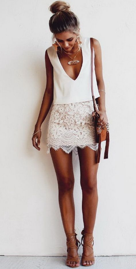 perfect dressy summer outfit: lace skirt, tan heels & white crop