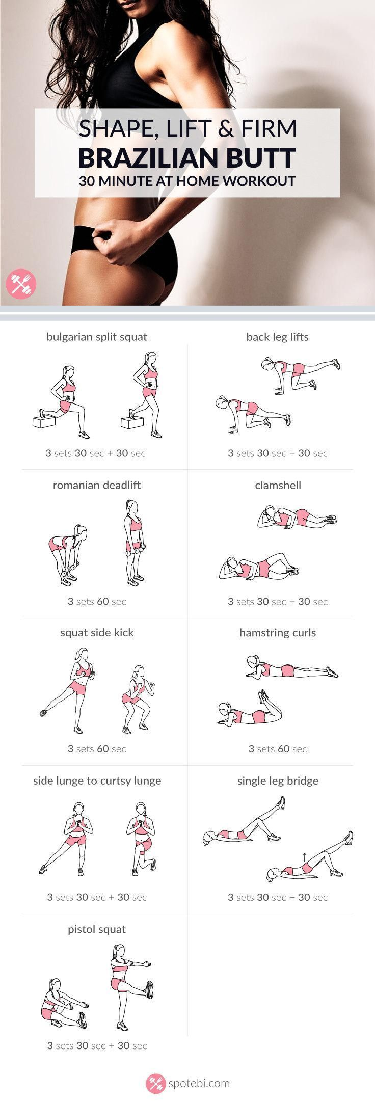 Want to know the secret to a perfect booty? Try this 30 minute sculpting and lifting Brazilian butt workout. Shape and firm your glutes and thighs fast! www.spotebi.com/...